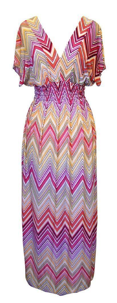 Belle Donne-Womens Clothing Summer Long Dress Chevron Print -Yellow/Peach / L