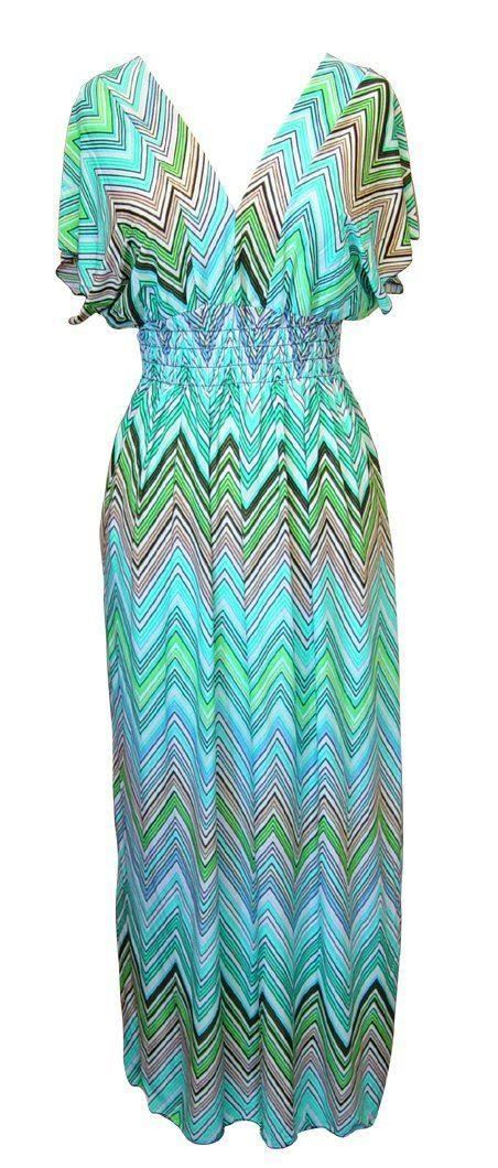 Belle Donne-Womens Clothing Summer Long Dress Chevron Print -Aqua/Green / Medium