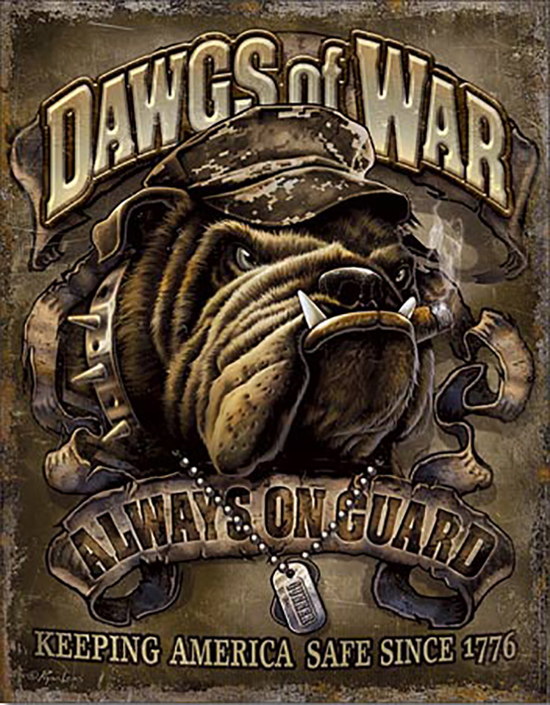 Shop72 - American Theme Tin Sign Decorative Sign and Vintage Retro TinSigns - Dawgs of War - with Sticky Stripes No Damage to Walls