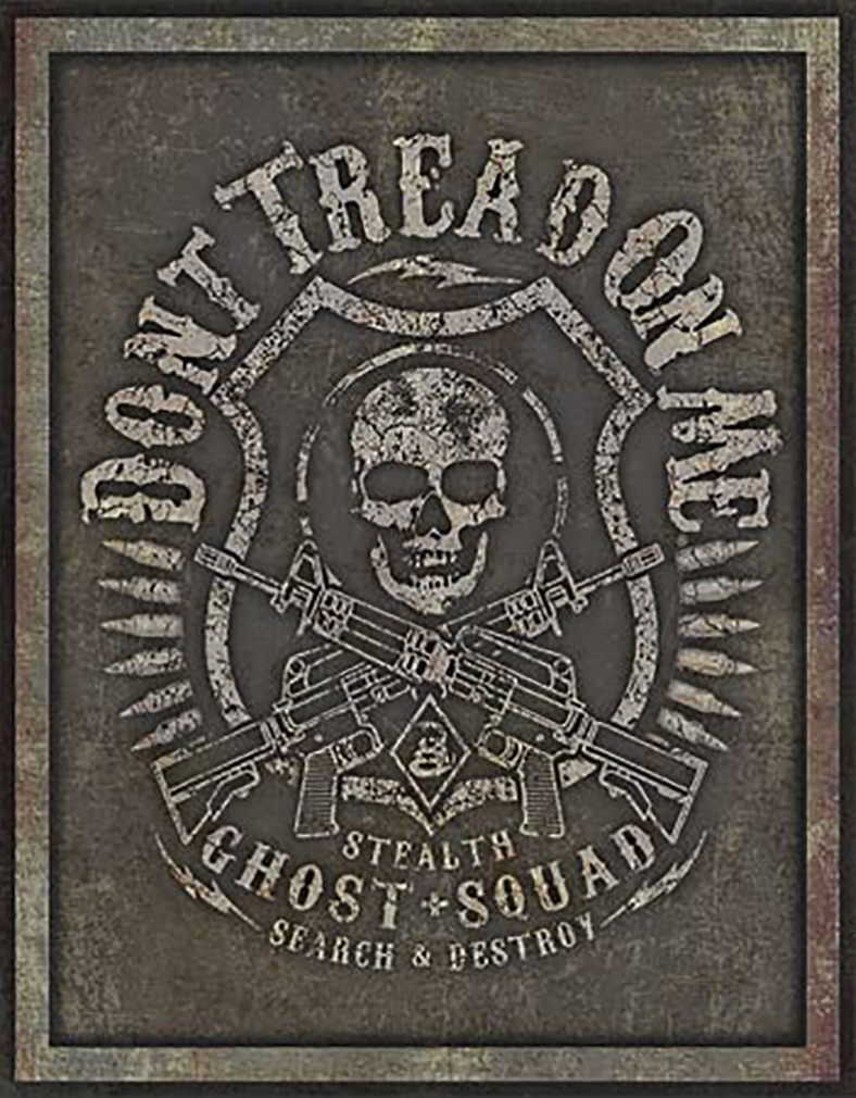 Shop72 - American Theme Tin Sign Decorative Sign and Vintage Retro TinSigns - Don't Tread on Me - Ghost Squad - with Sticky Stripes No Damage to Wal