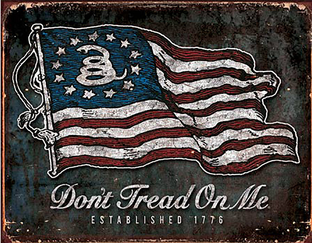 Shop72 - American Theme Tin Sign Decorative Sign and Vintage Retro TinSigns - Don't Tread on Me - Vintage Flag - with Sticky Stripes No Damage to Wa