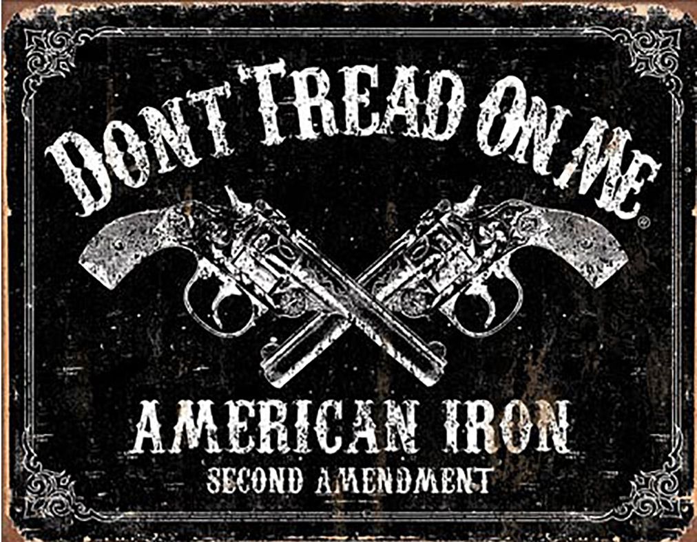Shop72 - American Theme Tin Sign Decorative Sign and Vintage Retro TinSigns - Don't Tread on Me - American Iron - with Sticky Stripes No Damage to Wal