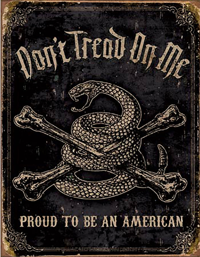 Shop72 - American Theme Tin Sign Decorative Sign and Vintage Retro TinSigns - Don't Tread on Me - Proud American - with Sticky Stripes No Damage to Wa