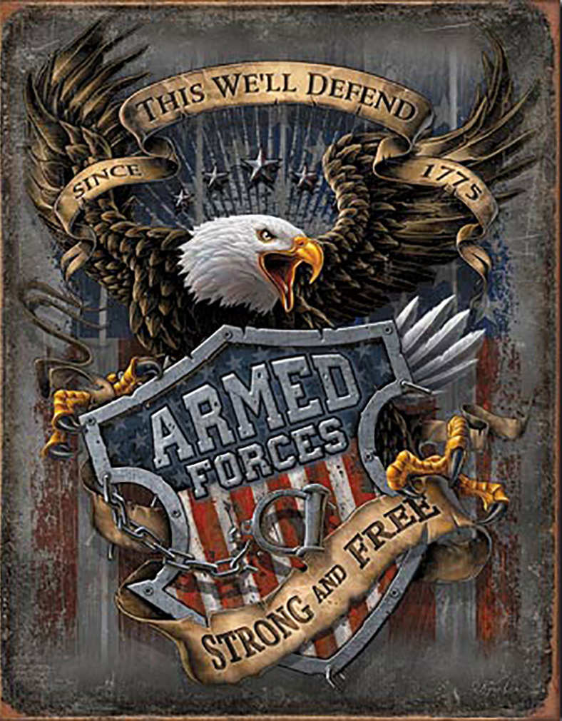 Shop72 - American Theme Tin Sign Decorative Sign and Vintage Retro TinSigns - Armed Forces - with Sticky Stripes No Damage to Walls