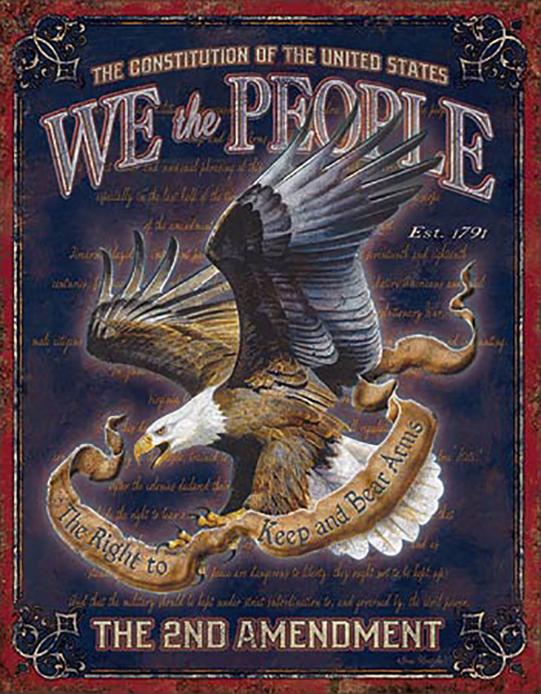 Shop72 - American Theme Tin Sign Decorative Sign and Vintage Retro TinSigns - We The People - with Sticky Stripes No Damage to Walls
