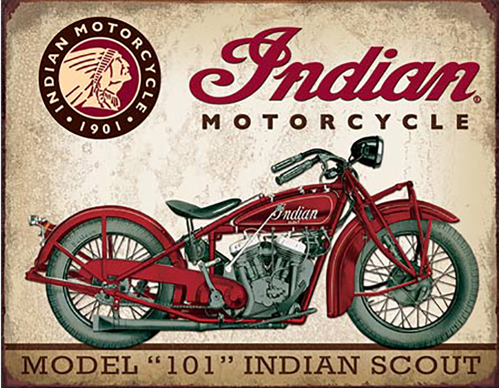 Shop72 - Indian Motorcycle - Indian Scout Model Tin Sign Bikes Tin Sign Retro Vintage Distressed - with Sticky Stripes No Damage to Walls