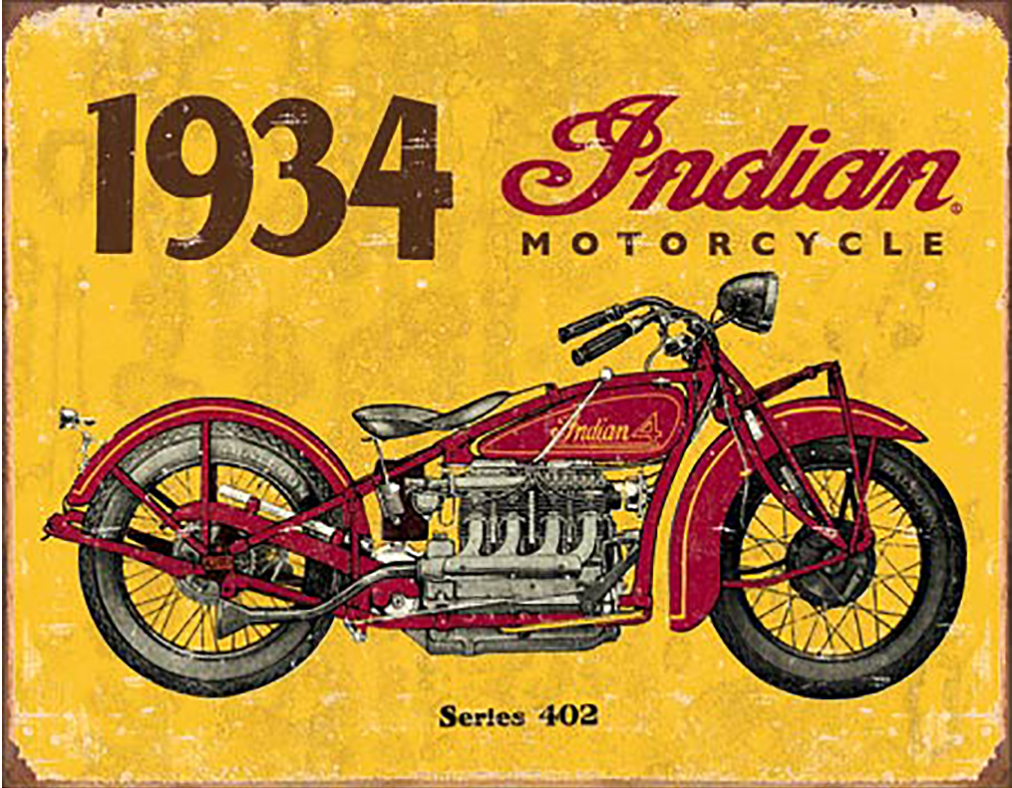 Shop72-1934 Indian Motorcycle Tin Sign Bikes Tin Sign Retro Vintage Distressed - with Sticky Stripes No Damage to Walls