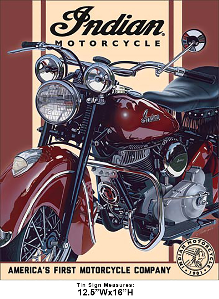 Shop72 - Indian - 1948 Chief Tin Sign Bikes Tin Sign Retro Vintage Distressed - with Sticky Stripes No Damage to Walls