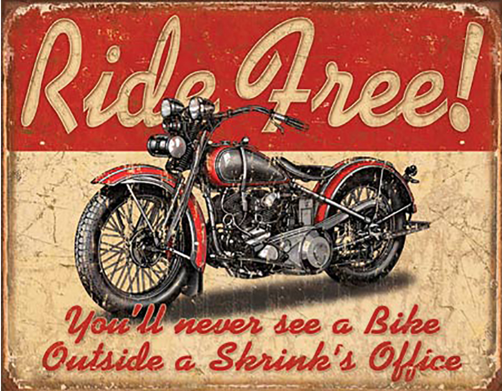 Shop72 - Ride Free Tin Sign Bikes Tin Sign Retro Vintage Distressed - with Sticky Stripes No Damage to Walls