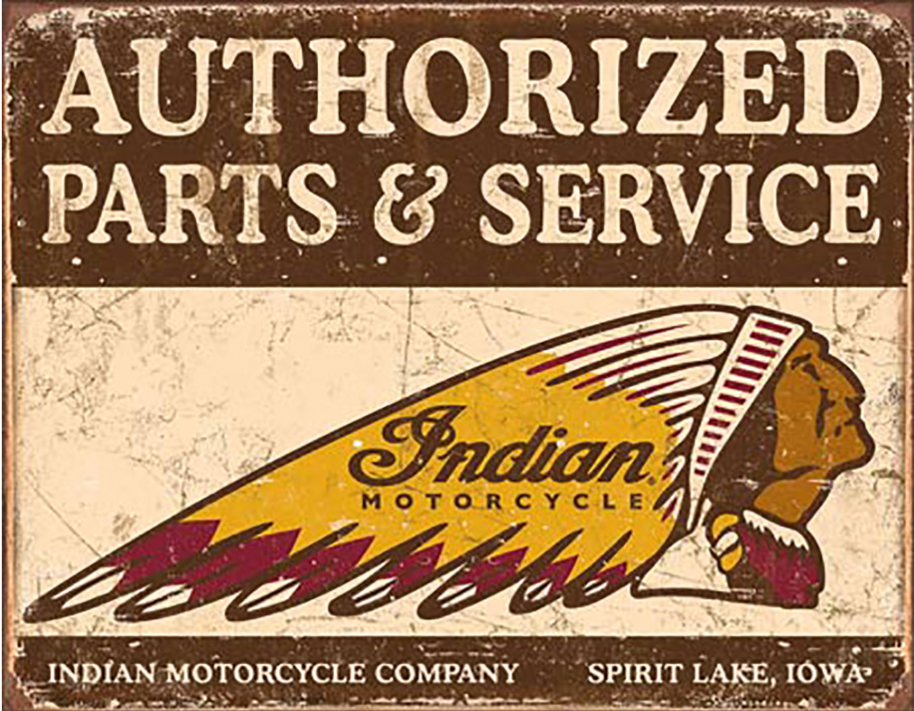 Shop72 - Authorized Indian Parts and Service Tin Sign Bikes Tin Sign Retro Vintage Distressed - with Sticky Stripes No Damage to Walls