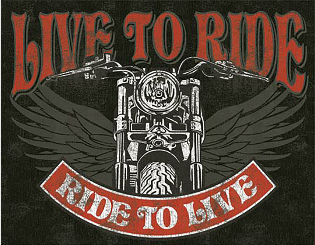 Shop72 - Live to Ride - Bike Tin Sign Bikes Tin Sign Retro Vintage Distressed - With Sticky Stripes No Damage to Walls