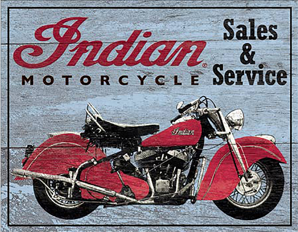 Shop72 - Indian Motorcycle Sales and Service Tin Sign Bikes Tin Sign Retro Vintage Distressed - with Sticky Stripes No Damage to Walls