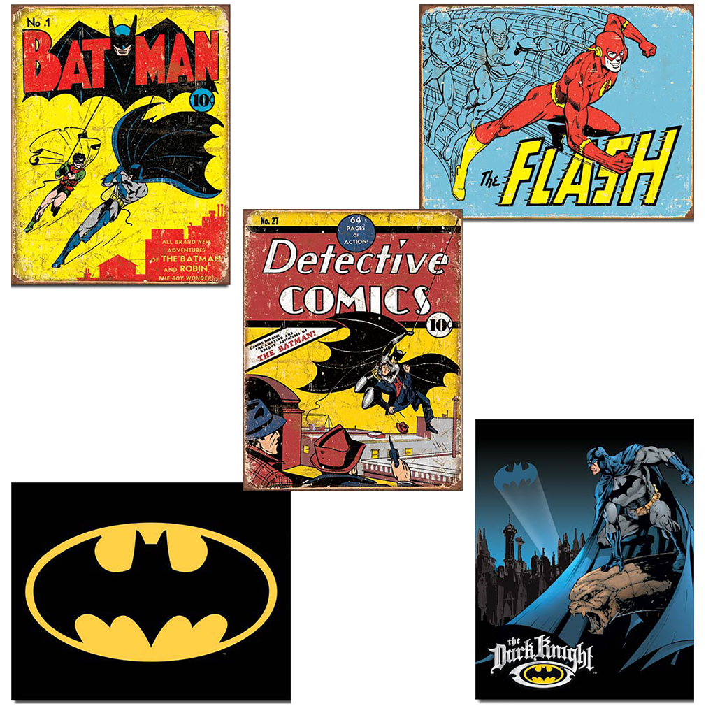 Tin Signs - Comic Series DC Marvell Super Hero Metal Tin Sign Retro Vintage - Sets of 5 - SET-B
