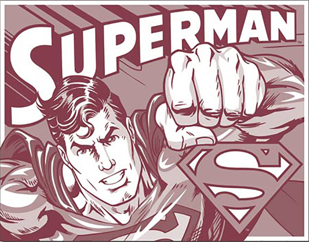 Shop72 Tin Sign DC Comic Series Superman Super Hero Metal Tin Sign Retro Vintage No Damage to Walls