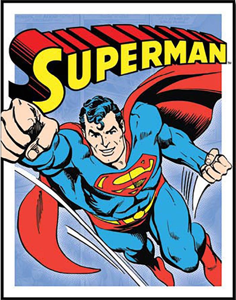 Shop72 Tin Sign DC Comic Series Superman Super Hero Metal Tin Sign Retro Vintage No Damage to Walls