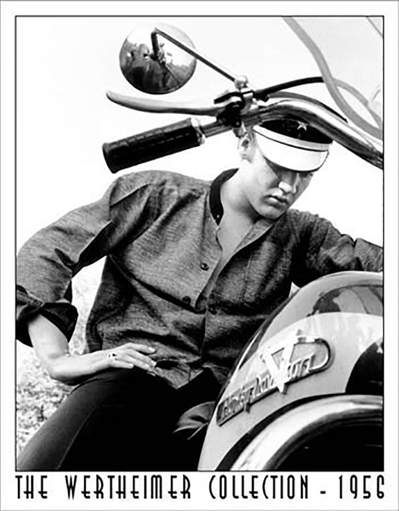 Shop72 - Vintage Tin Sign Wertheimer - Elvis Presley Memorabilia on Bike Distressed Metal Sign - with Sticky Stripes No Damage to Walls