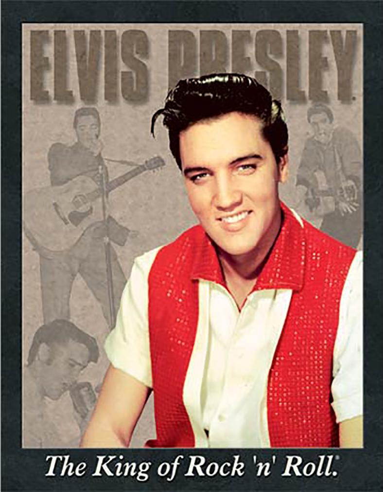 Shop72 - Vintage Tin Sign Elvis Presley Memorabilia Portrait Distressed Metal Sign - with Sticky Stripes No Damage to Walls