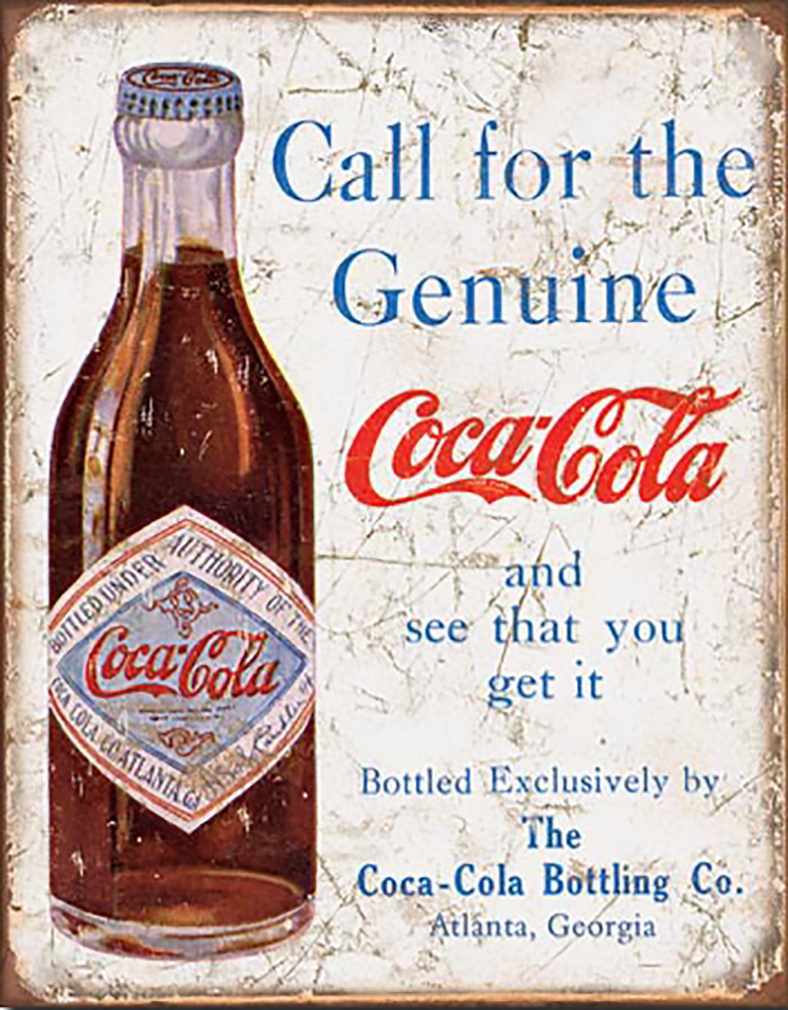 Shop72- Tin Signs Coke Cola Call for The Geniune Retro Tin Sign Vintage Tin Signs