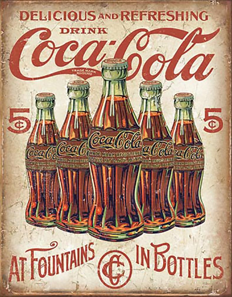 Shop72- Tin Signs Coke Cola 5 Bottles Retro Retro Tin Sign Vintage Tin Signs