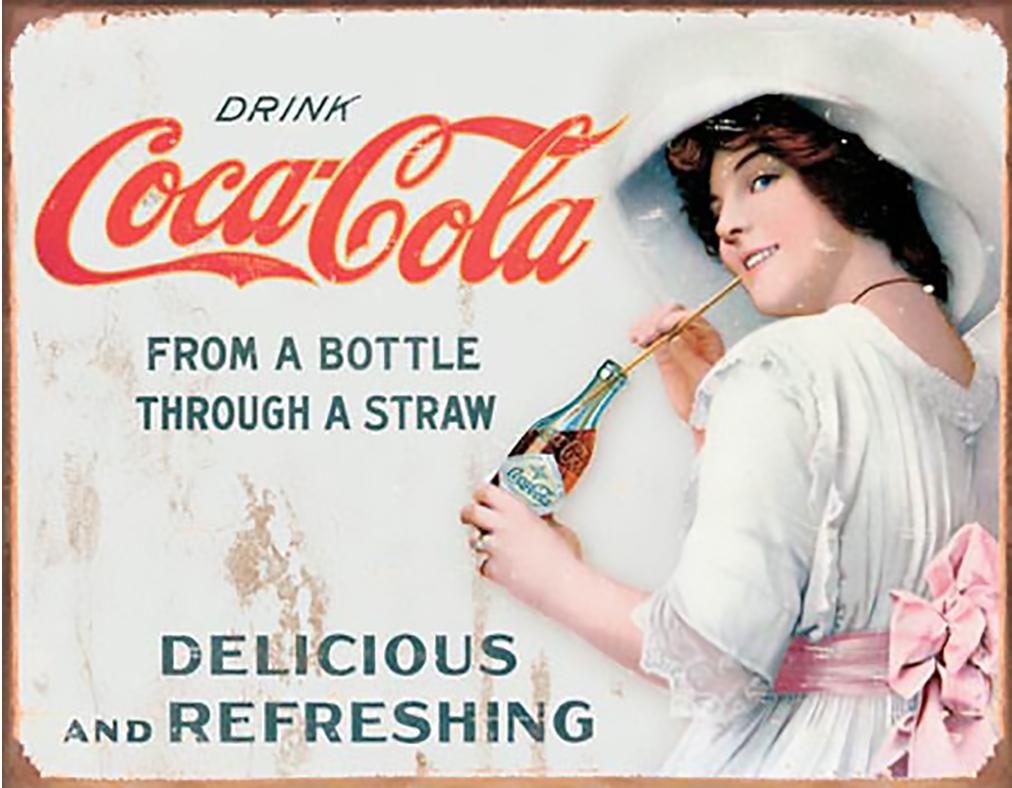 Shop72- Tin Signs Coke Cola Through a Straw Retro Tin Sign Vintage Tin Signs
