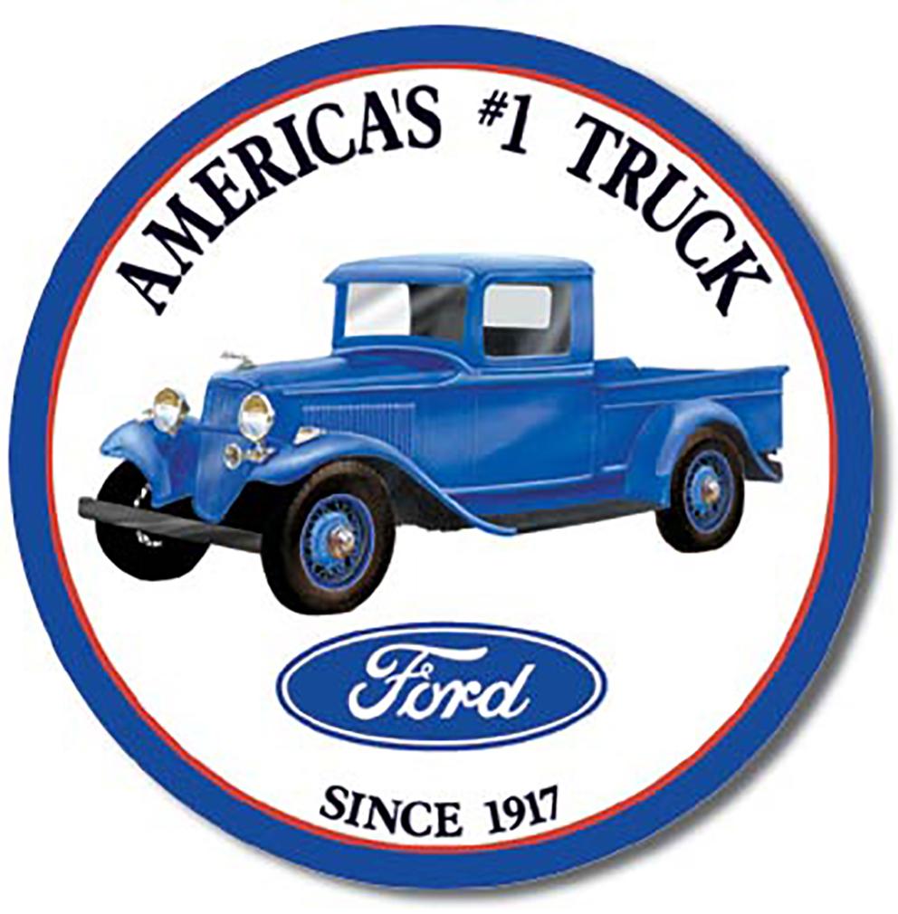 Shop72 - Tin Sign Ford Trucks - Round Vintage Tin Sign Retro Metal Sign