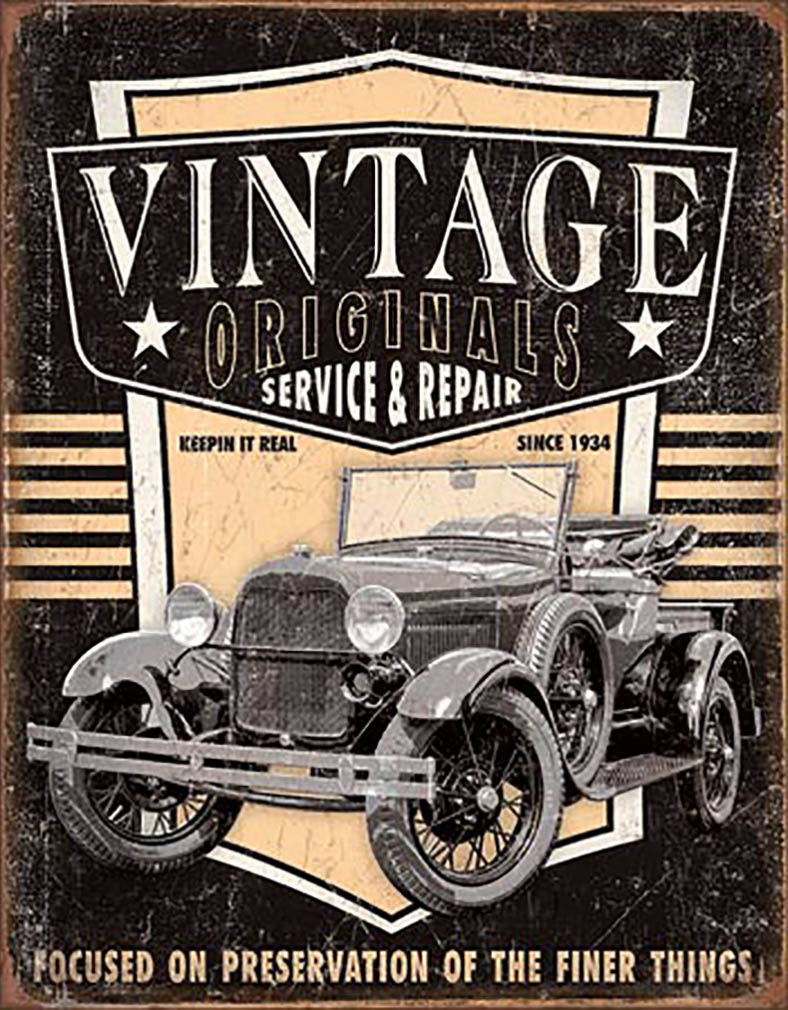 Shop72 - Vintage Originals - Pickup Tin Sign Retro Vintage Distrssed - with Sticky Stripes No Damage to Walls