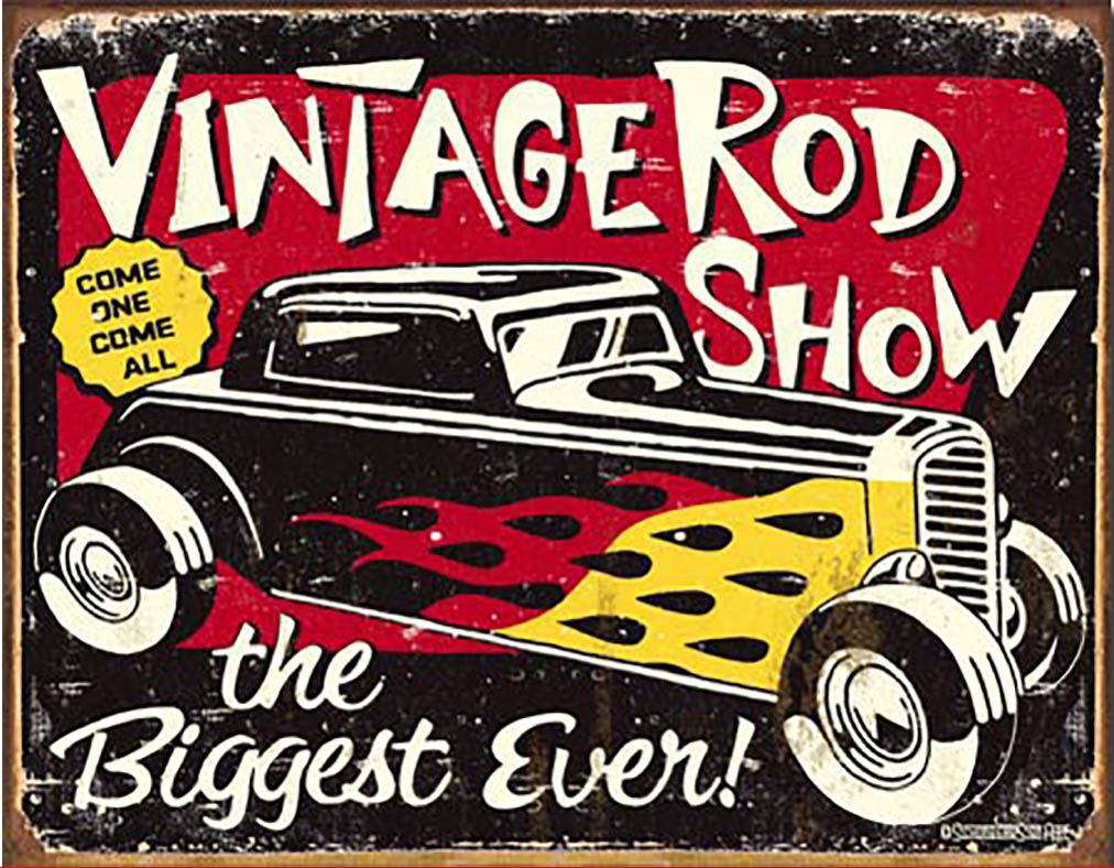 Shop72 - Schoenberg - Vintage Rodshow Tin Sign Retro Vintage Distrssed - with Sticky Stripes No Damage to Walls