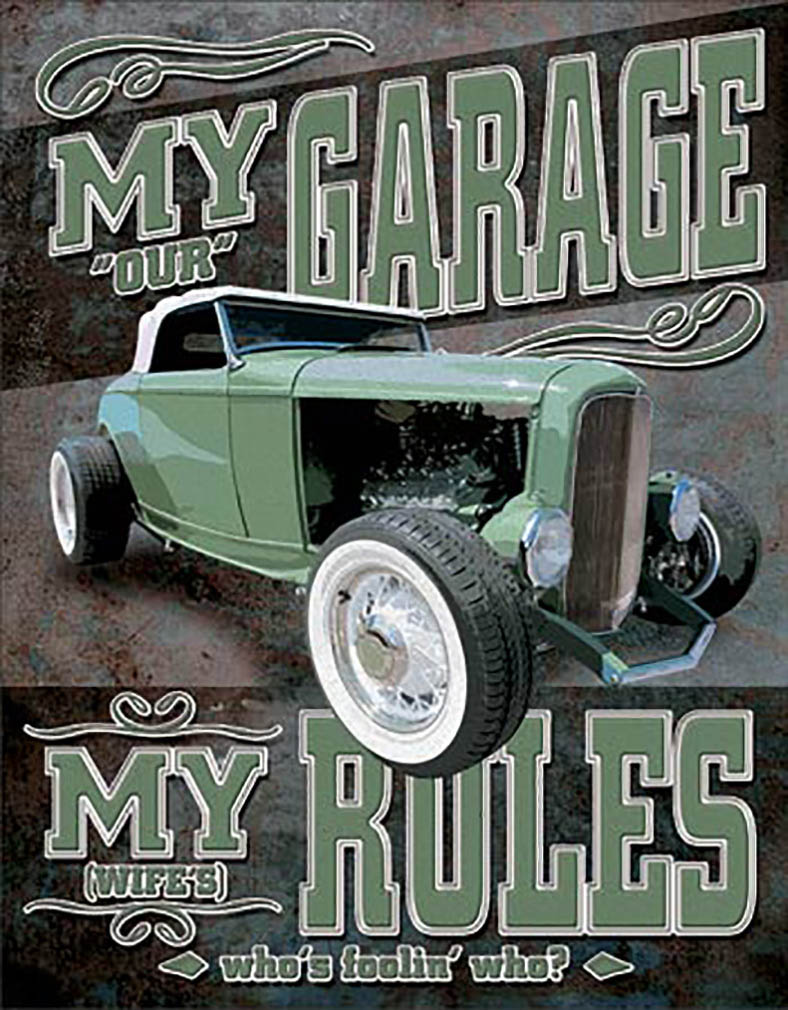 Shop72 - My Garage My Rules Tin Sign Retro Vintage Distrssed - with Sticky Stripes No Damage to Walls