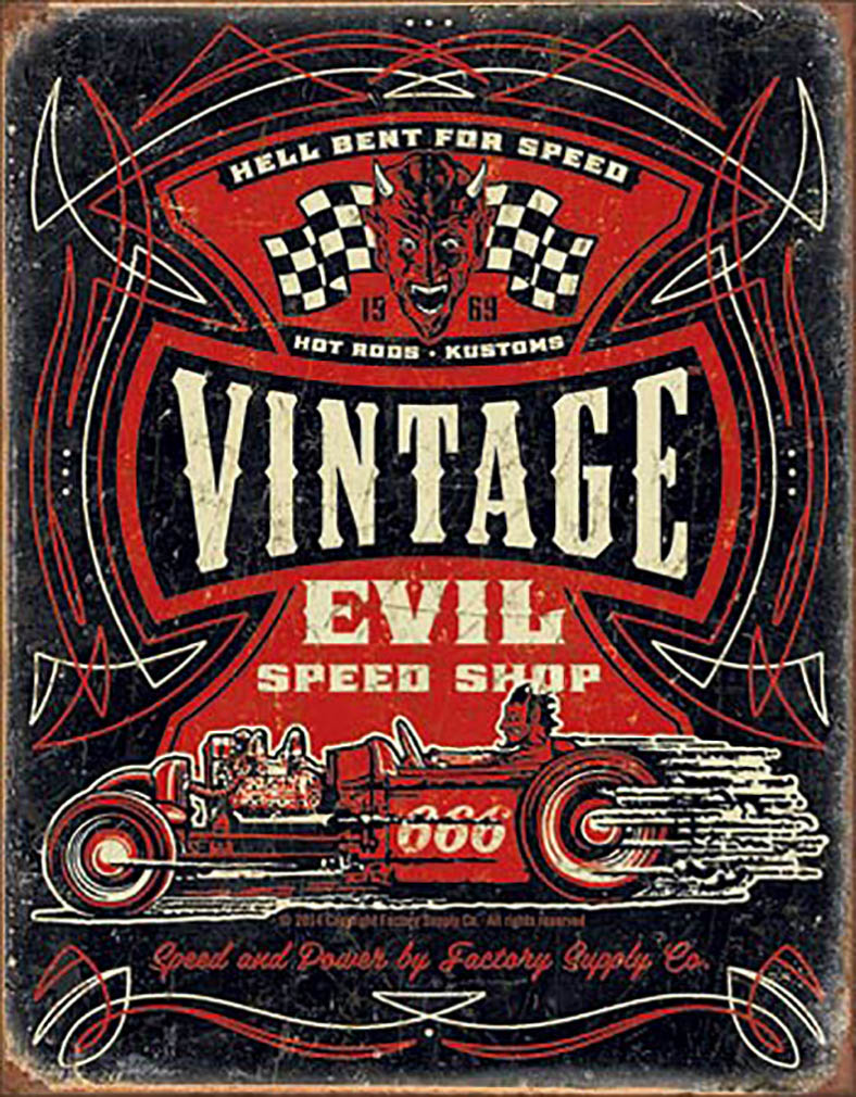 Shop72 - Vintage Evil - Hell Bent Rods Tin Sign Retro Vintage Distrssed - with Sticky Stripes No Damage to Walls