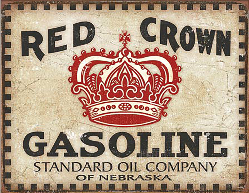 Shop72 - Red Crown Gasoline Tin Signs Retro Vintage Gas Tin Sign n Oil Tin Sign Wall Decor Garage -