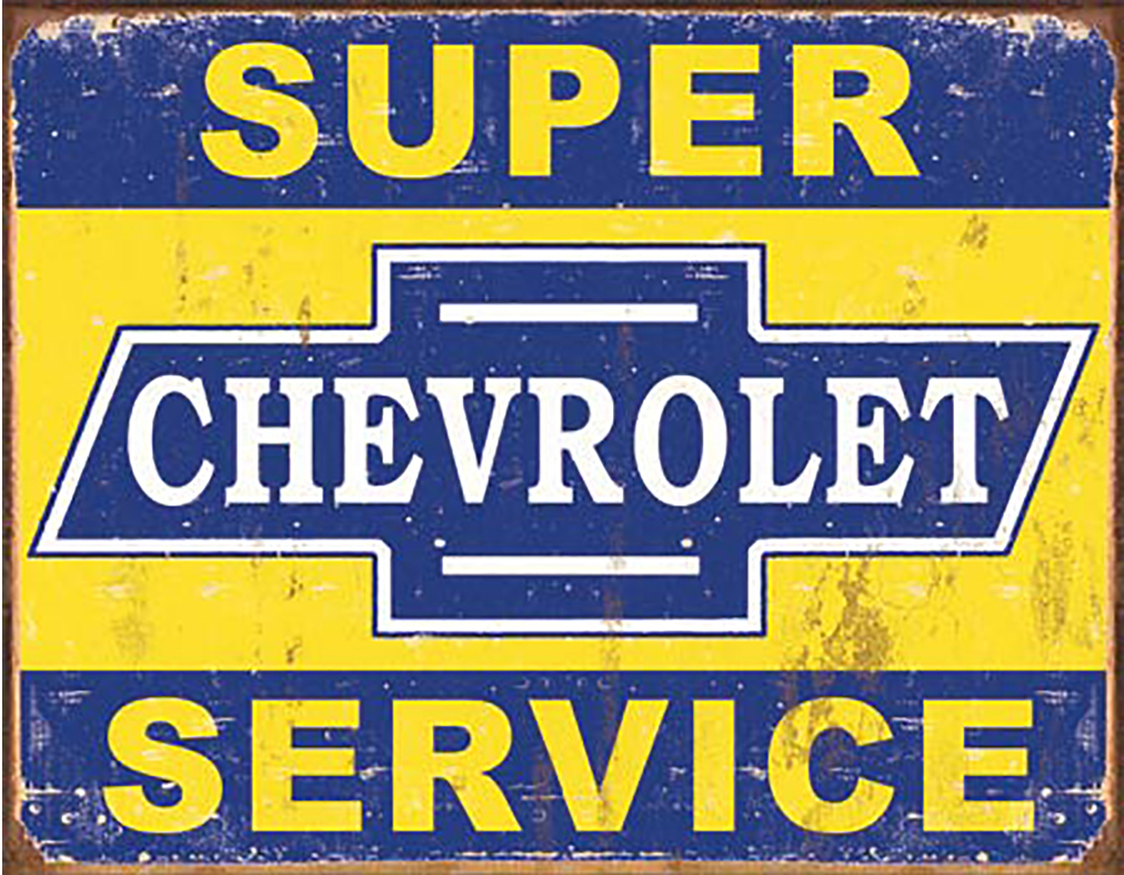 Shop72 - Retro Tin Sign Super Chevy Service Metal Sign Poster Garage Sign - with Sticky Stripes No Damage to Walls