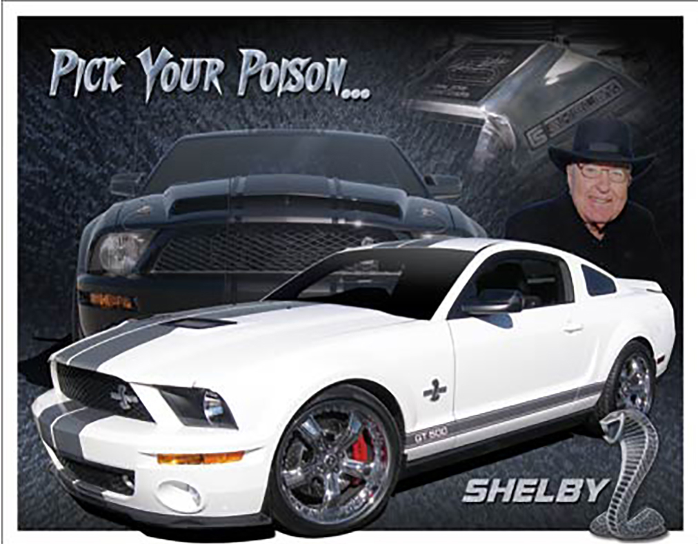 Shop72 - Distrssed Tin Sign Shelby Mustang - You Pick Metal Sign Poster Garage Sign - with Sticky Stripes No Damage to Walls
