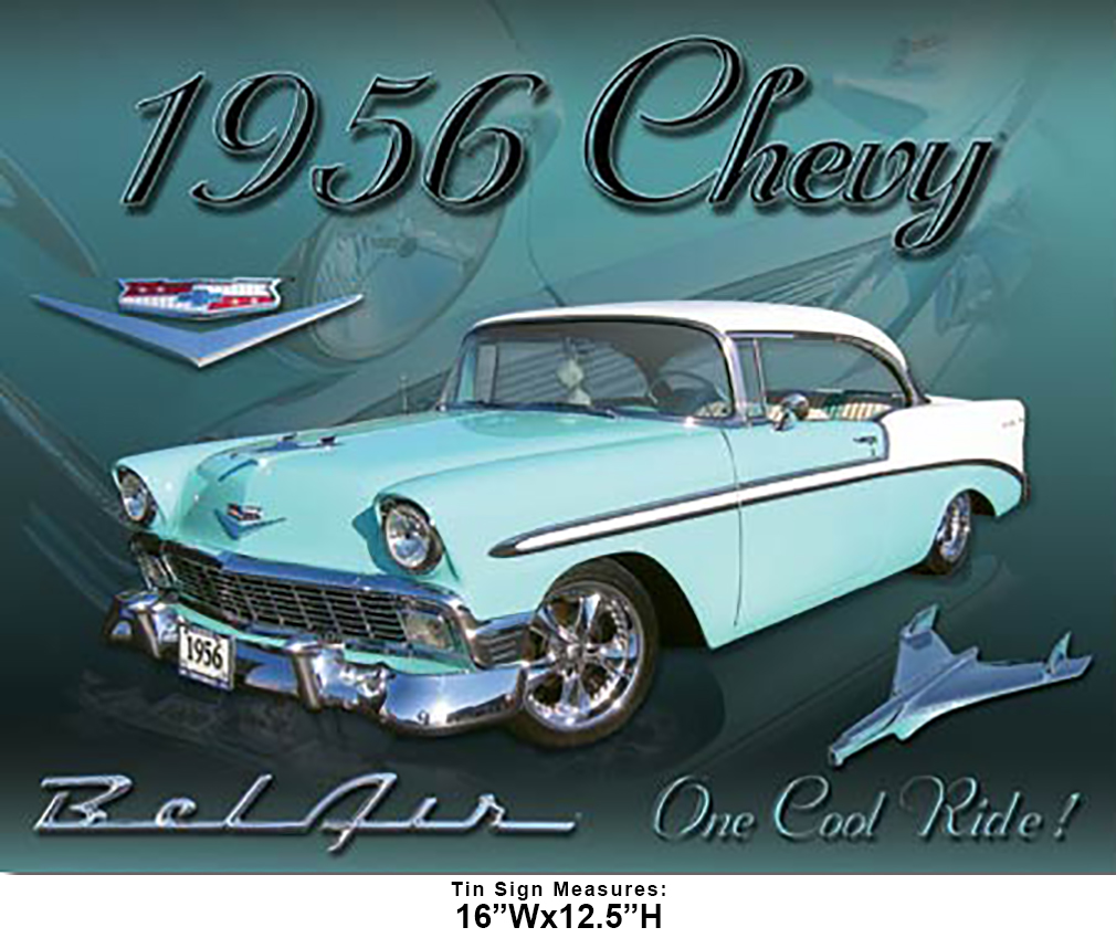Shop72 - Distrssed Tin Sign Chevy 1956 Bel Air Metal Sign Poster Garage Sign - with Sticky Stripes No Damage to Walls