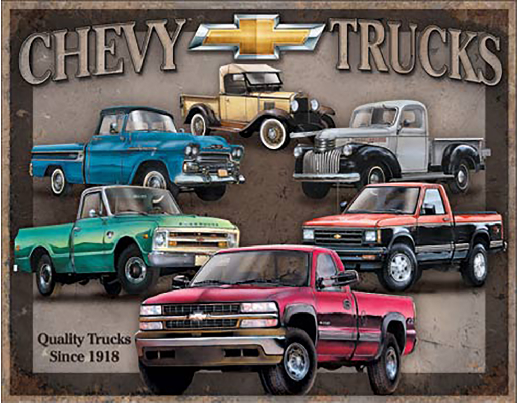 Shop72 - Distrssed Tin Sign Chevy Truck Tribute Metal Sign Poster Garage Sign - with Sticky Stripes No Damage to Walls