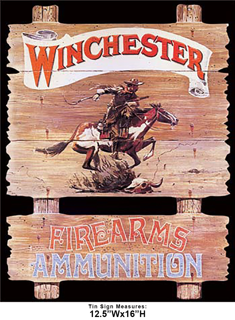 Shop72 - Winchester - Express Rider Tin Sign Retro Vintage Distrssed - with Sticky Stripes No Damage to Walls