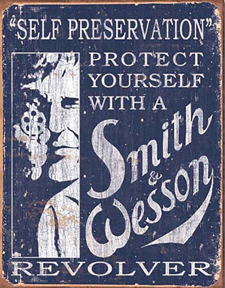 Shop72 - Smith & Wesson Self Preservation Tin Sign Retro Vintage Distressed