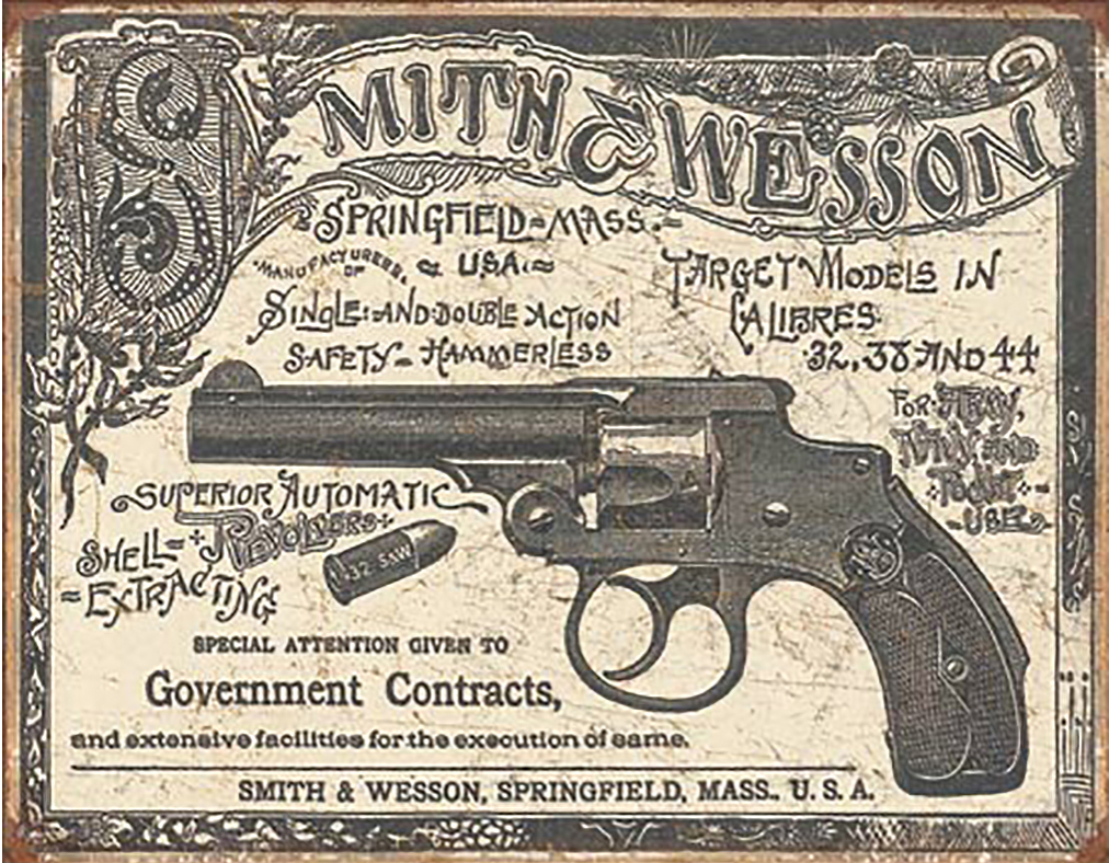 Shop72 Smith & Wesson 1892 Gov. Contracts Tin Sign Retro Vintage Distressed