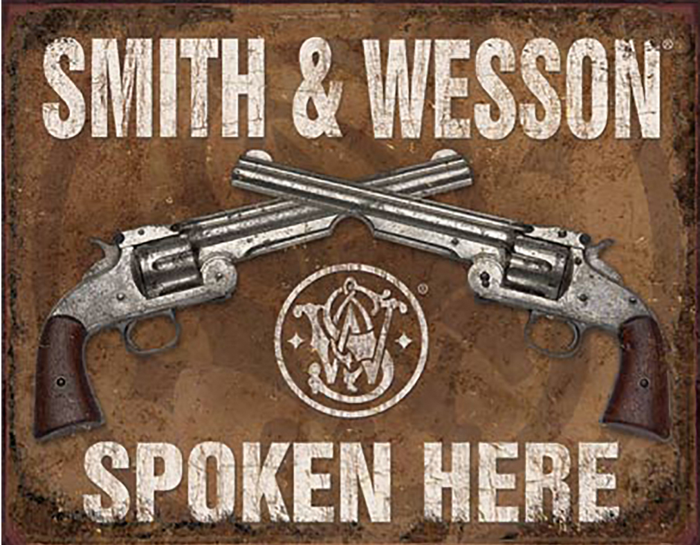 Shop72 - Smith & Wesson Spoken Here Tin Sign Retro Vintage Distrssed - with Sticky Stripes No Damage to Walls