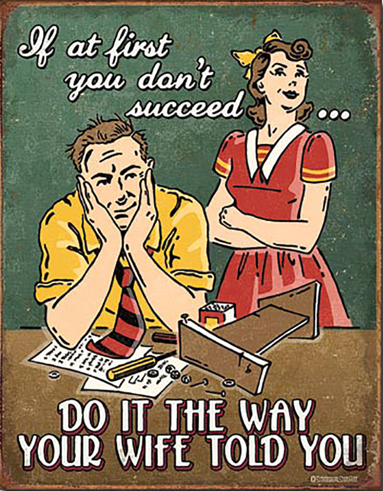 Shop72 - Tin Sign Humorous Sarcasm Funny Vintage Tin Signs for Home Do It The Way Your Wife Told You