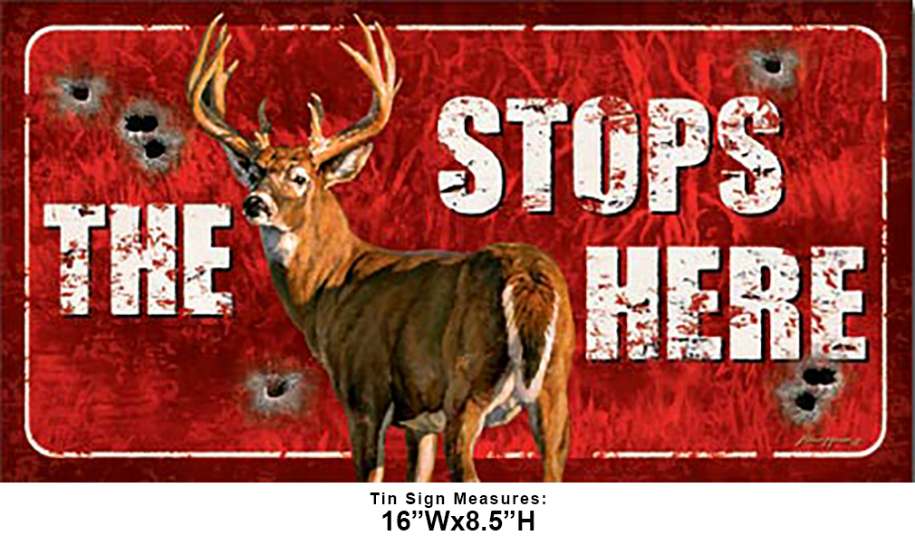 Shop72 - Deers Stops Here Tin Sign Retro Vintage Distrssed - with Sticky Stripes No Damage to Walls