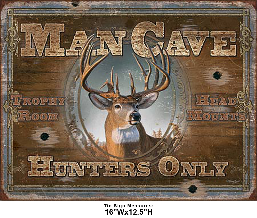 Shop72 - Cabin Wear Man Cave - Hunters Only Tin Sign Retro Vintage Distrssed - with Sticky Stripes No Damage to Walls