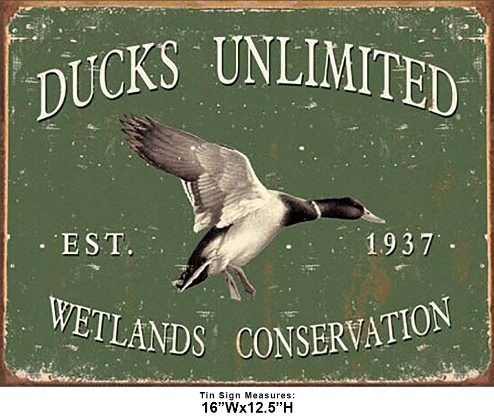 Shop72 - Ducks Unlimited - Since 1937 Tin Sign Retro Vintage Distrssed - with Sticky Stripes No Damage to Walls