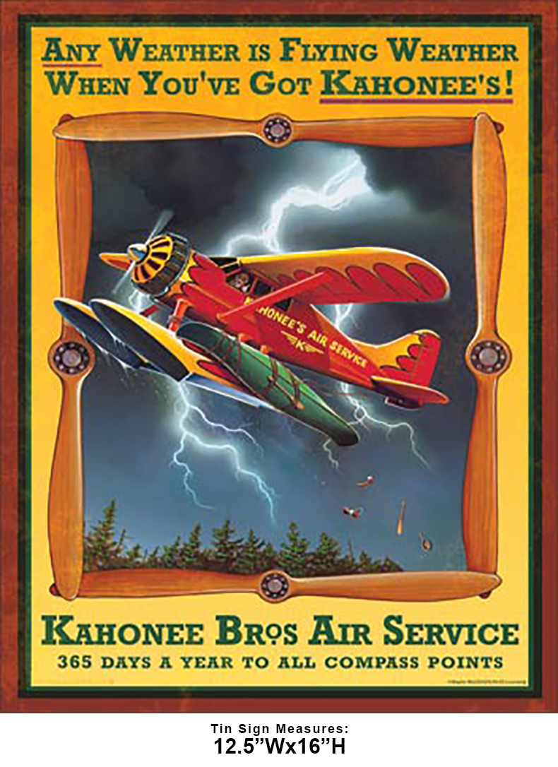 Shop72 - Kahonee Air Service Tin Sign Retro Vintage Distrssed - with Sticky Stripes No Damage to Walls