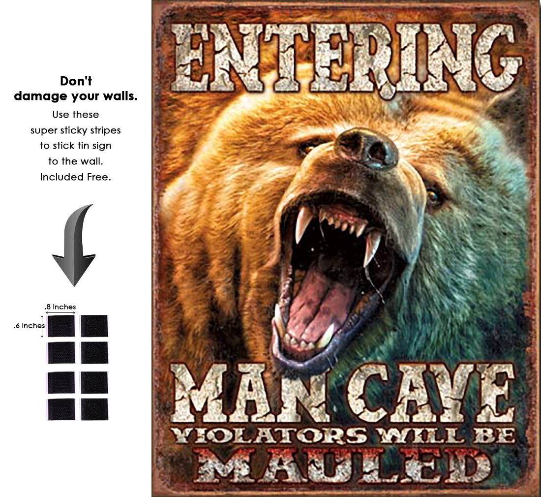 Shop72 - Cabin Wear Man Cave - Grizzly Tin Sign Retro Vintage Distrssed - with Sticky Stripes No Damage to Walls
