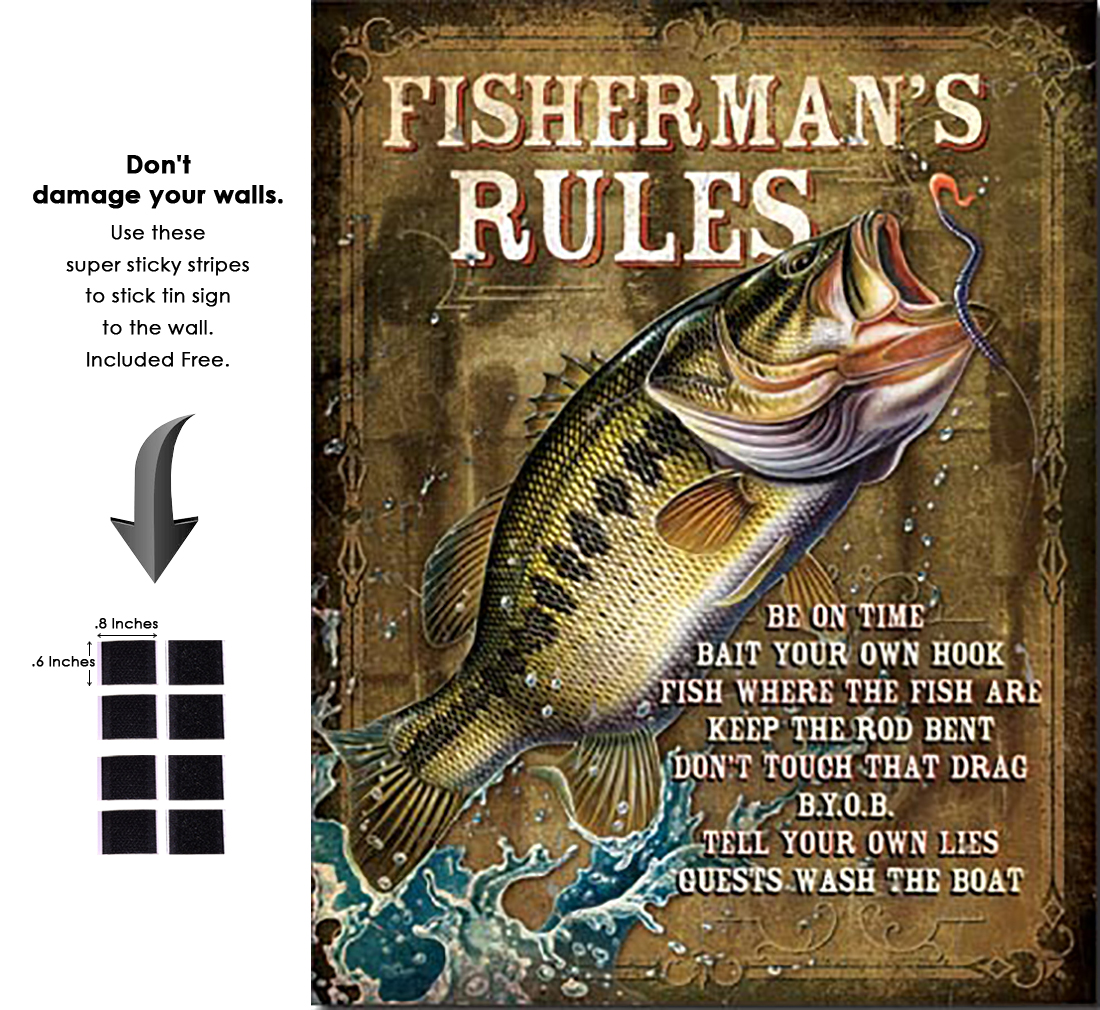 Shop72 - JQ - Fisherman's Fishing Rules Tin Sign Retro Vintage Distrssed - with Sticky Stripes No Damage to Walls