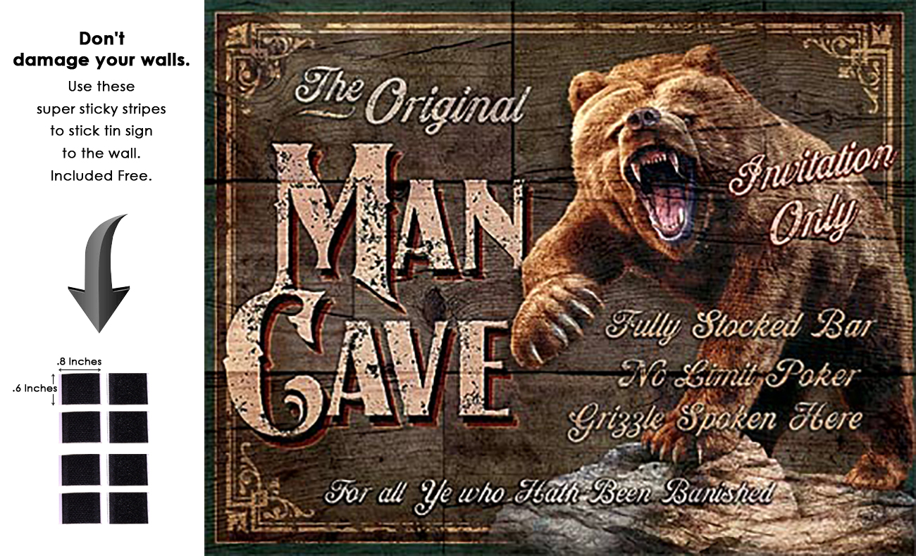 Shop72 - Cabin Wear Man Cave - The Original Tin Sign Retro Vintage Distrssed - with Sticky Stripes No Damage to Walls