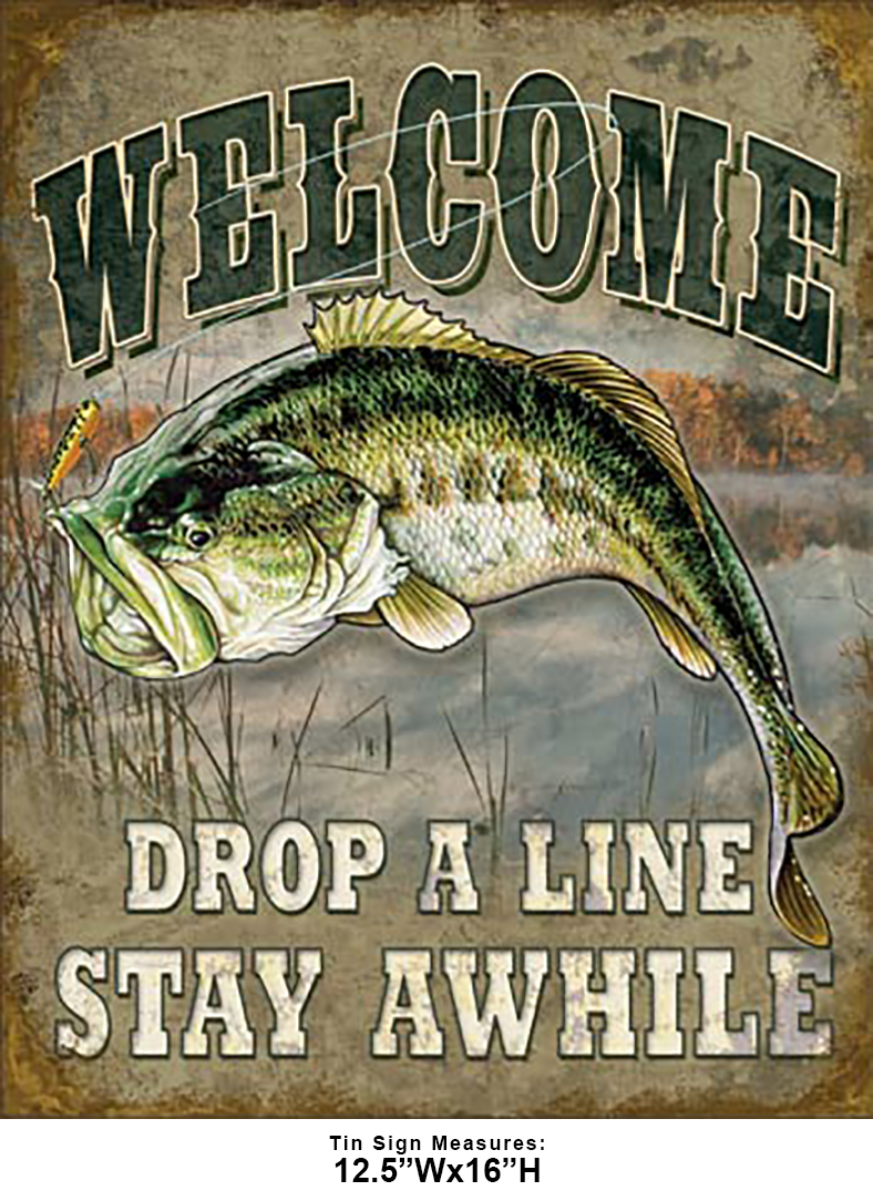 Shop72 - Welcome Bass Fishing Tin Sign Retro Vintage Distrssed - with Sticky Stripes No Damage to Walls