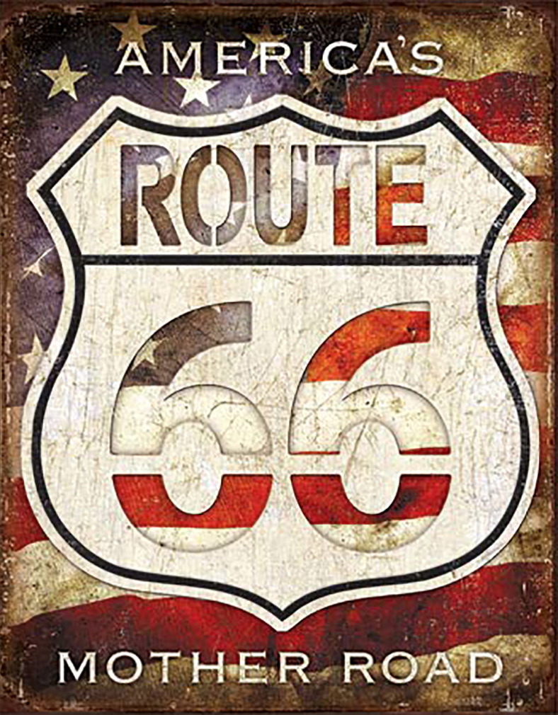 Shop72- Rt. 66 - America's Road Tin Sign Retro Vintage Distressed vintage road signs