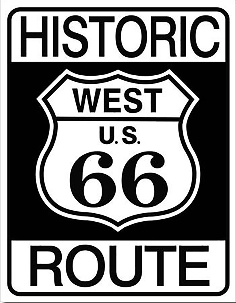Shop72 - Historic West Route 66 Tin Sign Retro Vintage Distressed Vintage Road Signs
