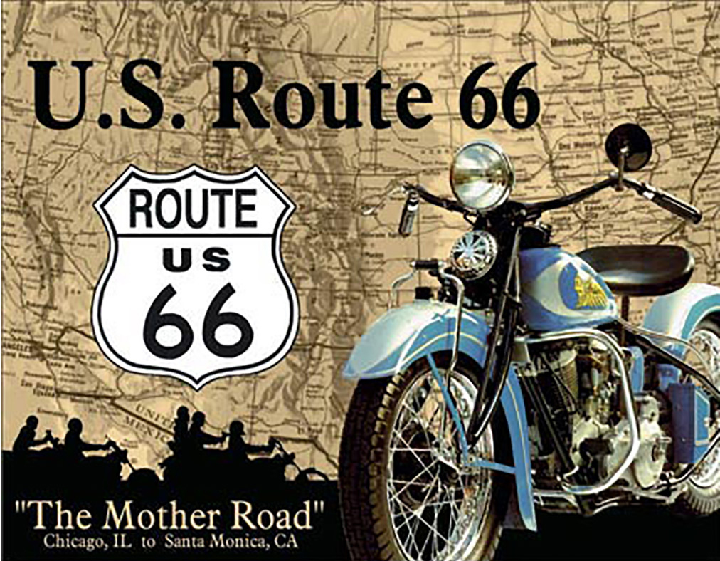 Shop72 - The Mother Road Route 66 Bike Tin Sign Retro Vintage Distressed vintage road signs